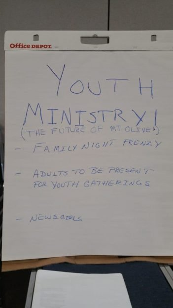 """Poster on white paper with the title """"Youth Ministry"""" and more in small print"""