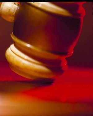 Close-up photo of a judge's gavel