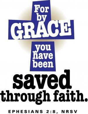 "Words on a blue cross, ""For by Grace you have been saved through faith."" Ephesians 2:8"