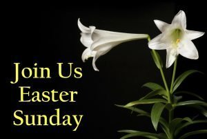 "The words, ""Join us Easter Sunday"" with photo of two lilies."