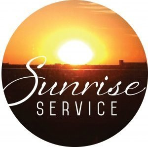 "The words, ""Sunrise Service"" with photo of sunrising in background."