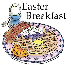 "The words, ""Easter Breakfast"" above a plate with waffle, bacon etc."