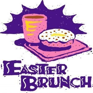 "The words, ""Easter Brunch"" with a tray of food behind."