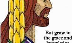 Man's profile with long hair and short beard with the words from 2 Peter 3:18