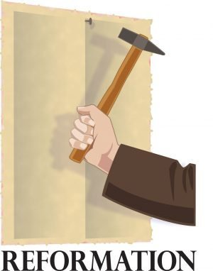 """Hammer in a hand nailing a paper up with the word, """"Refpormation."""""""