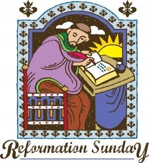 """Painting of a monk writing with the words, """"Reformation Sunday."""""""