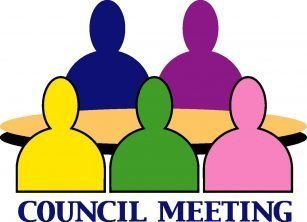 "Colored silhouettes of five people sitting around a table that can hold many more and the words ""Council Meeting"""