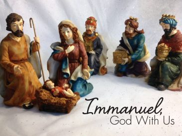 """Nativity scene with the words, """"Immanuel, God with us."""""""