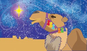 Painting of a camel's neck and head against a fantastic starry sky.