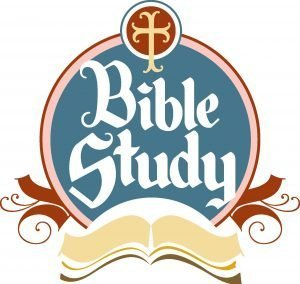 "The words, ""Bible Study"" in a circle design over an open Bible."