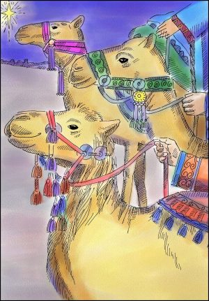 Drawing of three camels with elaborate, colorful bridles.