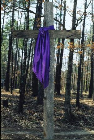A photo of rough old cross with a purple cloth draped over it standing in the middle of a forest of young trees.