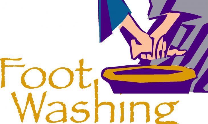 "Hands wring out a towel into a bowl and the words ""Foot Washing"""