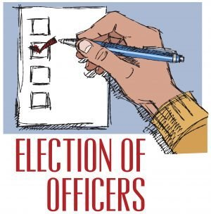 "Drawing of a ballot with 4 boxes and a hand with a pen checking one box with the words, ""Election of Officers."""