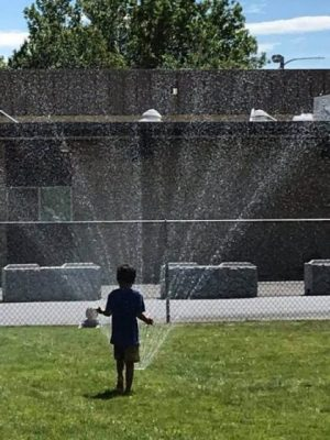 Photo of a boy on the grass in front of sprinkler.