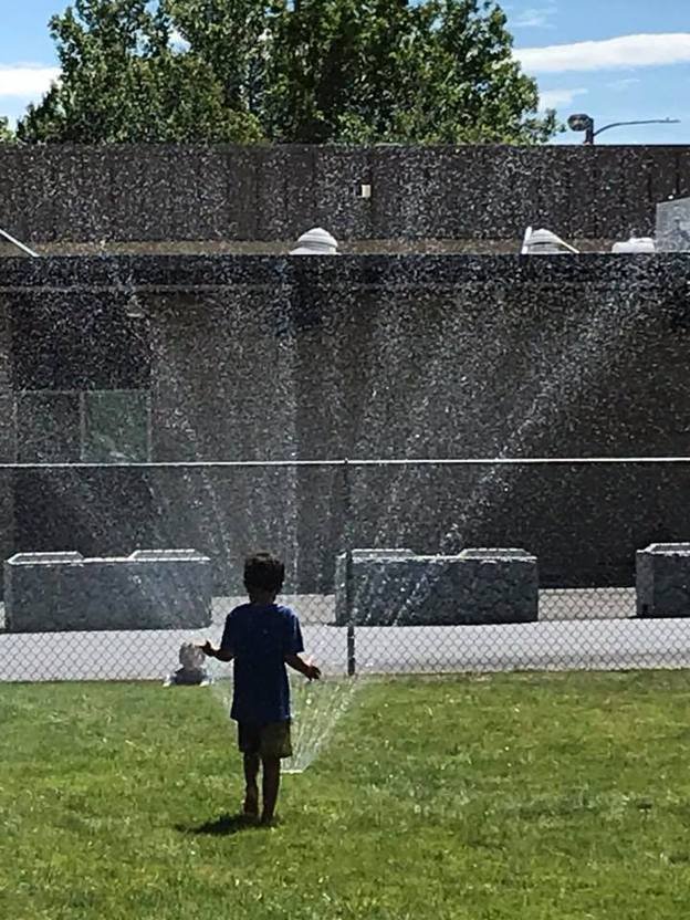 Boy on the grass in front of sprinkler