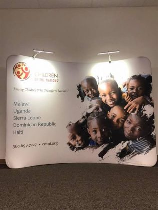 Children of the Nations poster telling countries where the meals are shipped.
