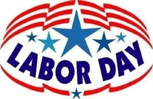 "Poster with stars and the words, ""Labor Day."""