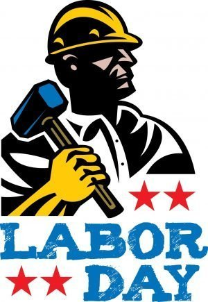 "Man with a hard hat and a hammer with the words, ""Labor Day."""