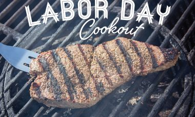 """Photo of a steak with grill marks on the barbeque with the words """"Labor Day cookout."""""""