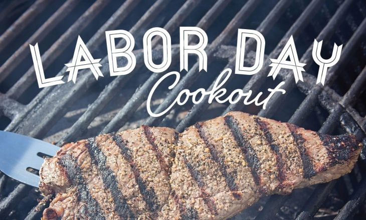 "Photo of a steak with grill marks on the barbeque with the words ""Labor Day cookout."""
