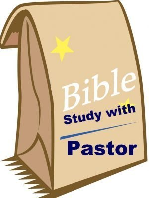 "Drawing of a paper bag with the words, ""Bible study with Pastor."""