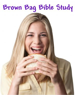 "Photo of a young lady with long blond hair eating a sandwich with the words, ""Brown Bag Bible Study."""