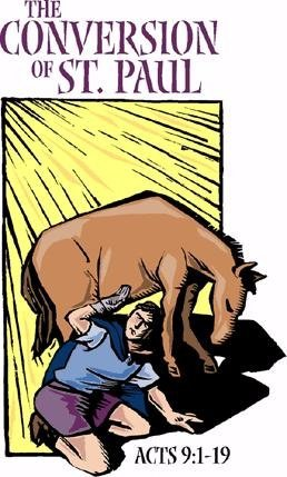"A man on the ground in front of a horse shielding his eyes from bright light. And the words ""The conversion of St. Paul"""
