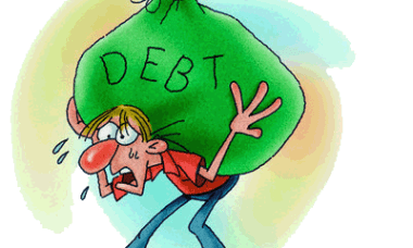 """A man bent over by a huge load in a bag with the word """"DEBT"""" on the bag"""