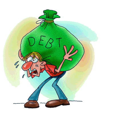 "A man bent over by a huge load in a bag with the word ""DEBT"" on the bag"