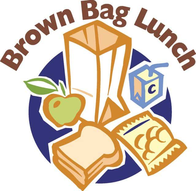 """Paper bag open with an apple, sandwich, chips and drink and the words """"Brown Bag Lunch"""""""