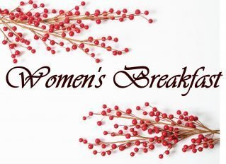 """Photo of two branches loaded with red berries and the words """"Women's Breakfast"""""""