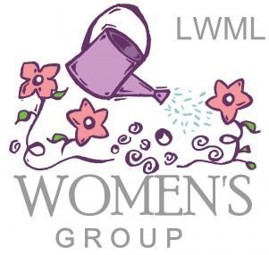 """A drawing of a water can sprinkling flowers and the words """"Women's Group"""""""