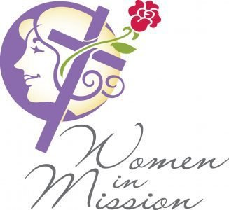 """A cross in front of a woman's silhouette with a rose and the words """"Women in Mission"""""""