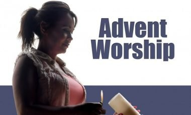 "Photo of a woman lighting a candle with the words, ""Advent Worship."""