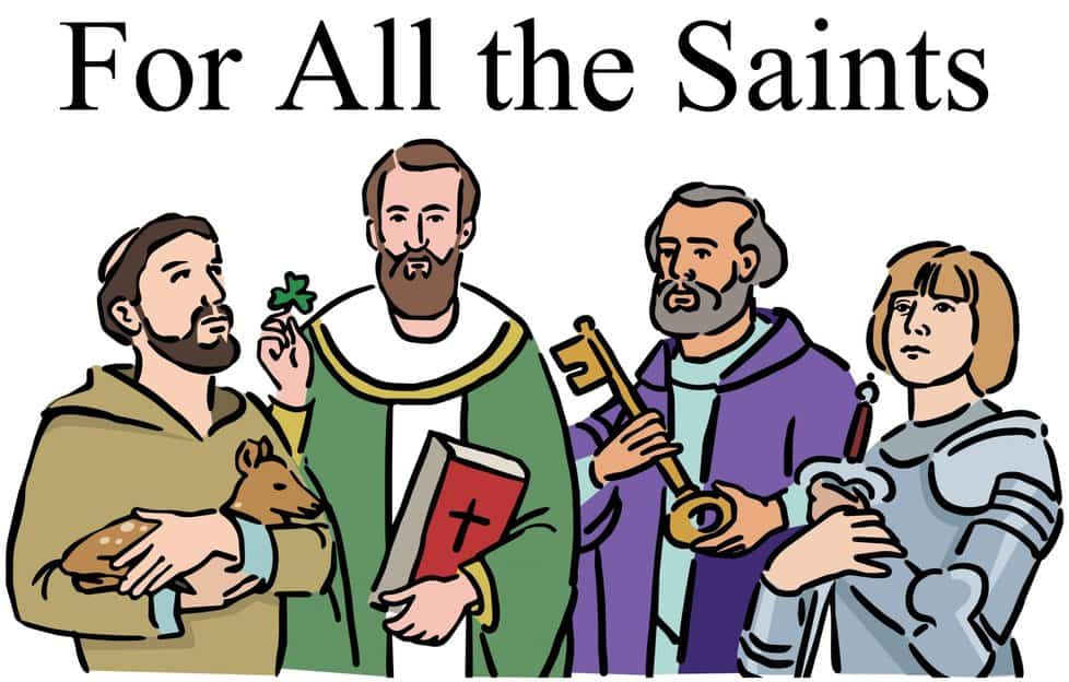 "Saints from the Bible and the words ""For All the Saints"""