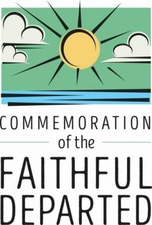 """The sun over the sea with the words """"Commemoration of the Faithfully Departed"""""""