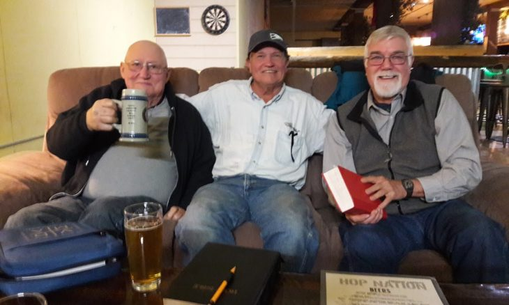 men enjoying a drink and bible study