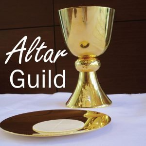"""The words, """"Altar Guild"""" in a photo of a chalice and plate."""