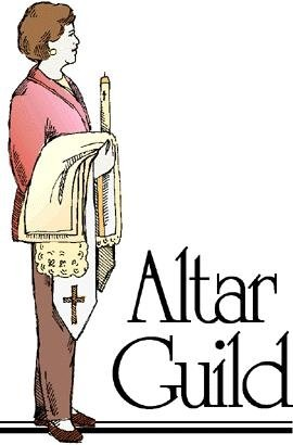 """The words, """"Altar Guild"""" with a drawing of a lady carrying cloths and candles."""