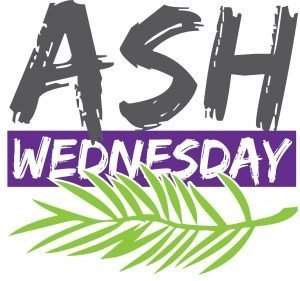 "The words, ""Ash Wednesday"" with a palm branch."