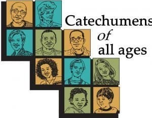"Images of people on squares arranged like ABC blocks with the words ""Catechumens of all ages."""
