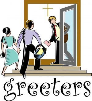 "The word, ""Greeters"" and a drawing of a man opening a door for a couple."