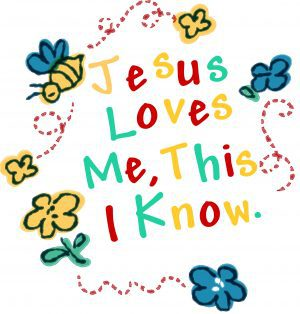 "Drawing of a bumble bee flying from flower to flower in a circle around the words ""Jesus loves me, this I know."""