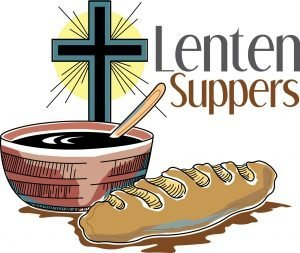 "The words, ""Lenten suppers"" with drawing of a bowl, loaf of bread and a cross behind."