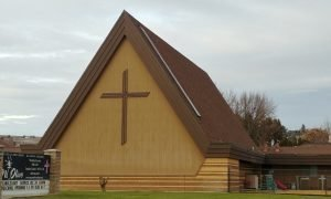 Photo of the A-frame Sanctuary showing the LCMS Cross
