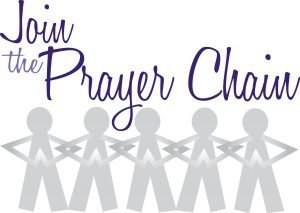 """The words, """"Join the Prayer Chain"""" above silhouettes of people with their arms linked."""