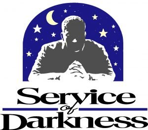 "The words, ""Service of Darkness"" with a drawing of a man silhouetted against the night sky."