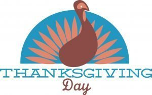 "The words, ""Thanksgiving Day"" beneath a turkey design."