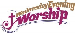 "The words, ""Wednesday Evening Worship"" with a cross design"